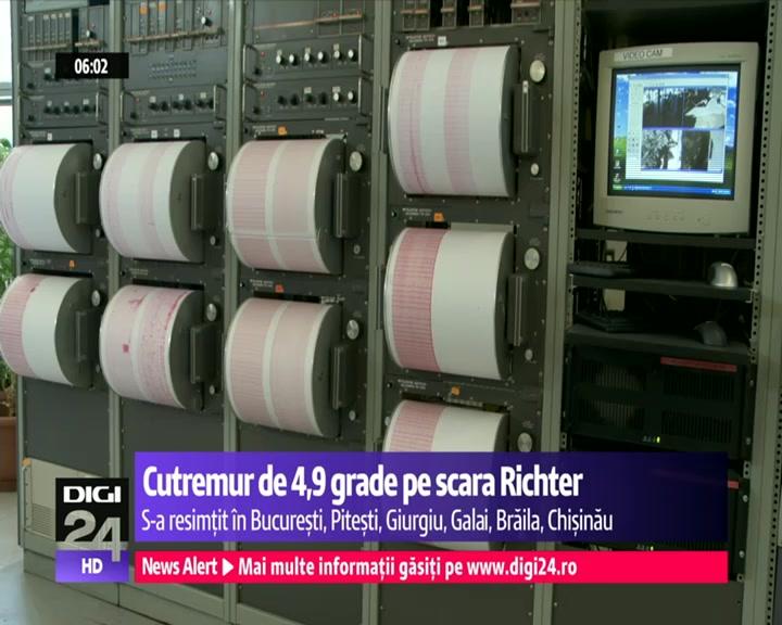 Un cutremur cu magnitudinea de 4,9 s-a produs, sambata noapte, la ora 2:44, in zona seismica Vrancea